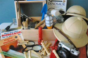 """Let the children's imaginations roam free as they study and play with the materials in this excavation kit. They can sift through the earth to dig up the past to learn all about the earth and its elements. The kit contains """"dinosaur bones,"""" a fossil collection, flashlights, rake, shovel, sifters, worker's vest, even genuine pith hats – everything you need to start your first dig!"""