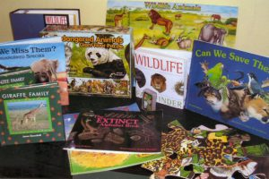 A very popular kit containing puzzles, match game, puppets.