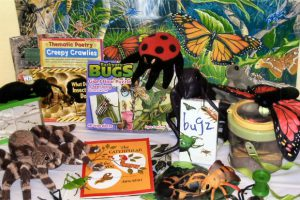 Discover the world of insects. Includes puppets, magnifying glasses, books, puzzles, microscope, Creepy Crawlies thematic poetry book, magnifying cylinder, video, bug discovery kits and a nature kit.