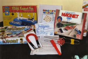 Contains different size magnets and magnetic shapes, experiment kit and activities, teacher's guide book.