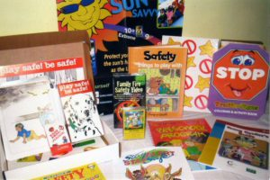 """An excellent kit for teaching Fire Safety. Contains an educational video, card game, activity boards and teacher's manual, Children's Safety Pack, as well as brochures and flyers and a book entitled """"The Big Book of Safety for Young Children""""."""