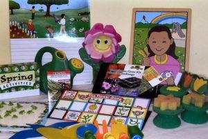 Spring - gardening tools, books, activities, sponge painters