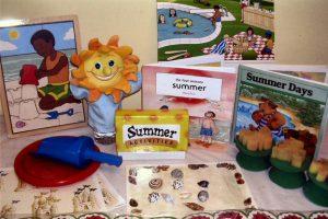 Summer - sand tools, books, activities, puzzle, sponge painters